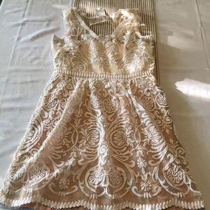Anthropologie Ombré white lace dress